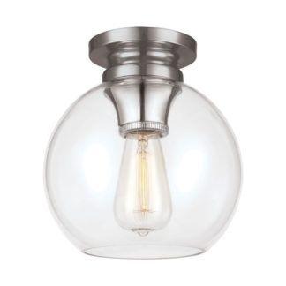 Srebrna lampa sufitowa Tabby - szklany klosz, klasyczna