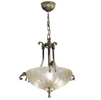 Klasyczna lampa wisząca Granada - patyna, szklany klosz
