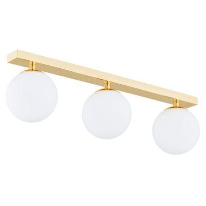złota lampa sufitowa do łazienki - 3 klosze kule
