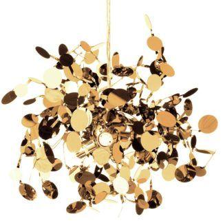 Efektowna lampa wisząca Monetti - złota, 40cm