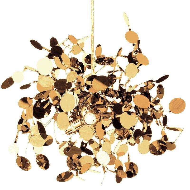 lampa wisząca złote listki nowoczesna