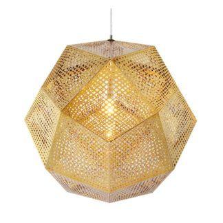 Złota lampa wisząca Futuri Star - geometryczny klosz