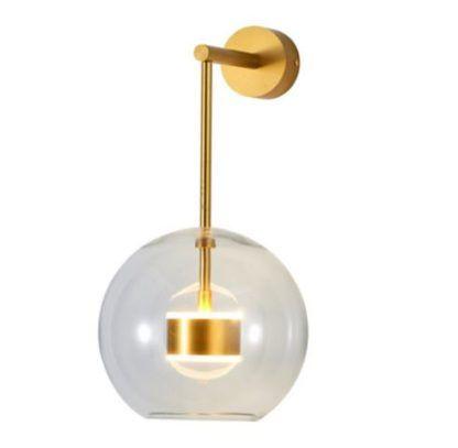 złoty kinkiet led szklana kula