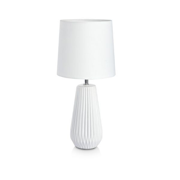 biała porcelanowa lampa stołowa