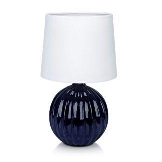 Granatowa lampa stołowa Melanie - biały abażur