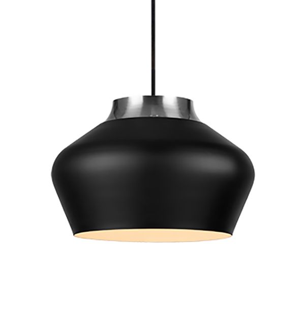 czarna lampa wisząc owalna do kuchni