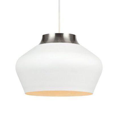 biała, owalna lampa wisząca