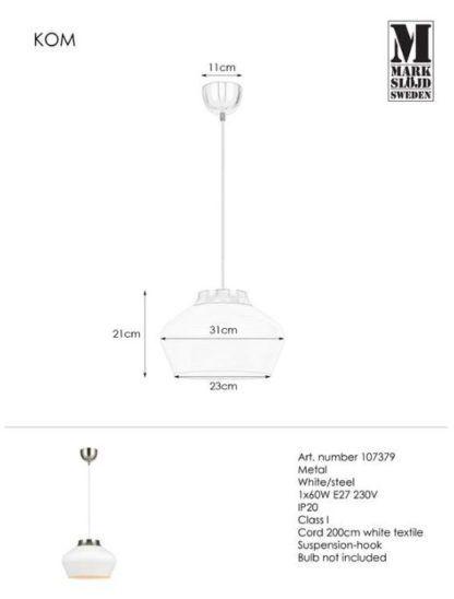 Biała lampa wisząca Kom - srebrne detale
