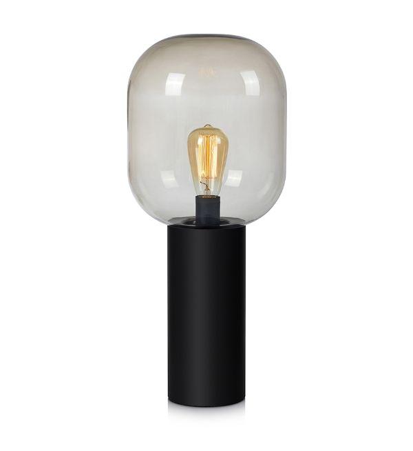 lampa stołowa w ciemnym salonie