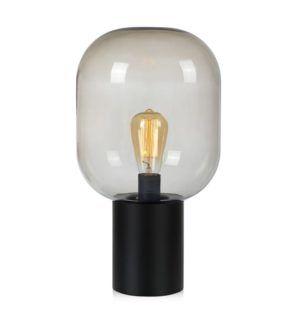 Czarna lampa stołowa Brooklyn - dymiony klosz