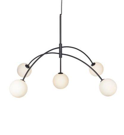 czarna lampa wisząca metalowe łuki
