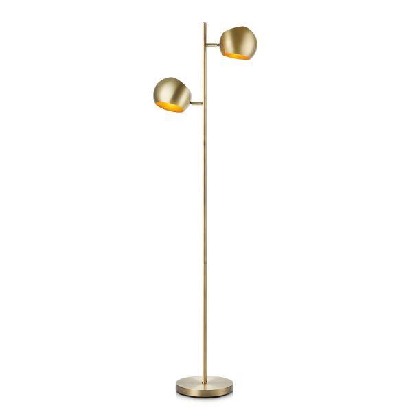 Elegancka lampa podłogowa Edgar - 2 klosze, złota patyna