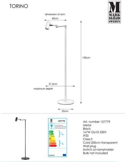 Lampa podłogowa Torino - regulacja klosza