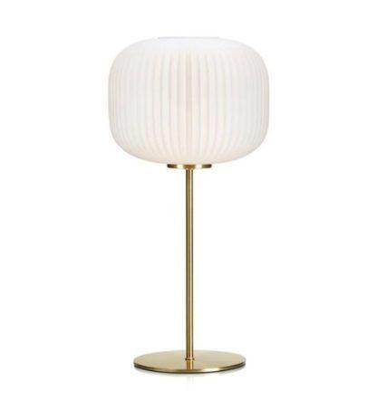 złota lampa stołowa biały klosz ze szkła