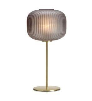 Złota lampa stołowa Sober - dymiony klosz