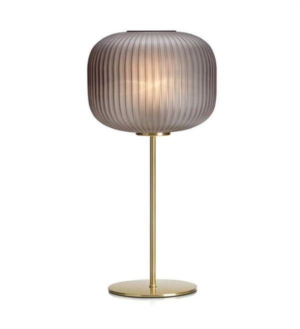 złota lampa stołowa szary klosz
