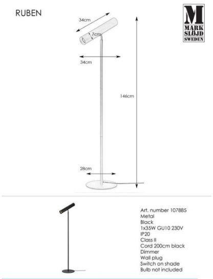Czarna lampa podłogowa Ruben - regulowana