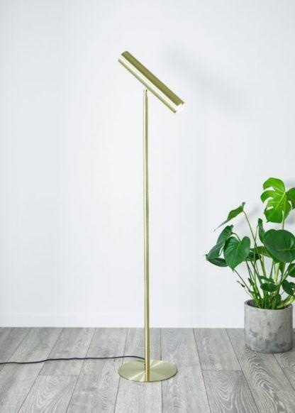 złota regulowana lampa podłogowa