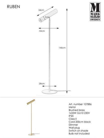 Złota lampa podłogowa Ruben - wąski klosz