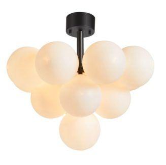 Lampa sufitowa Merlot - mleczne kule, czarna podstawa