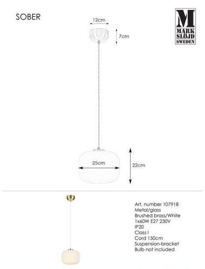 Lampa wisząca Sober - szklany klosz