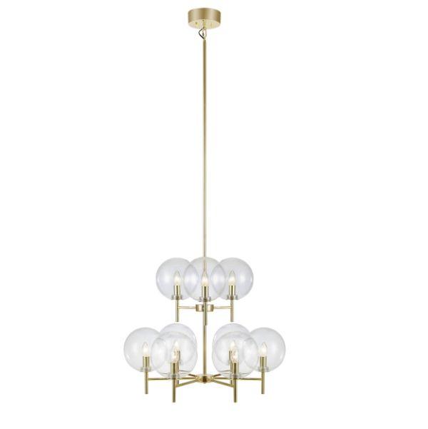 Złoty żyrandol Crown - szklane klosze