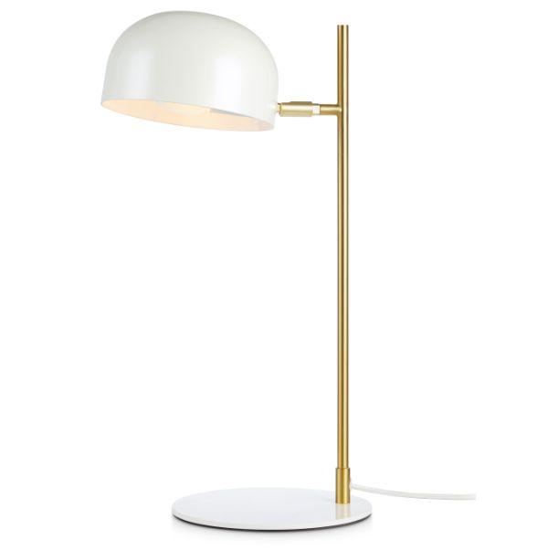 Biała lampa stołowa Pose - złote ramię, regulowana