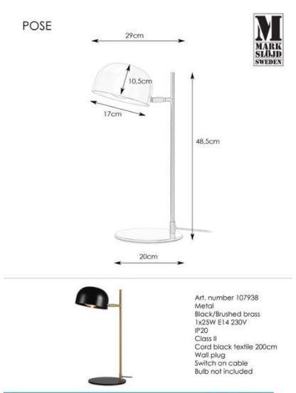 Lampa biurkowa Pose - czarna, złote ramię