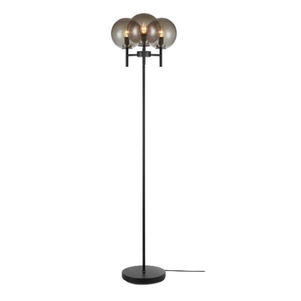czarna lampa podłogowa szare klosze ze szkła