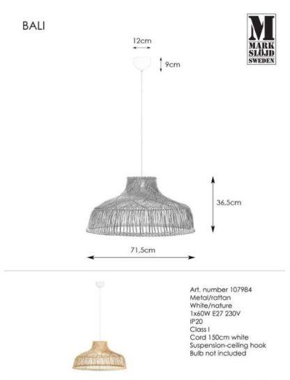 Lampa wisząca Bali - rattan, boho