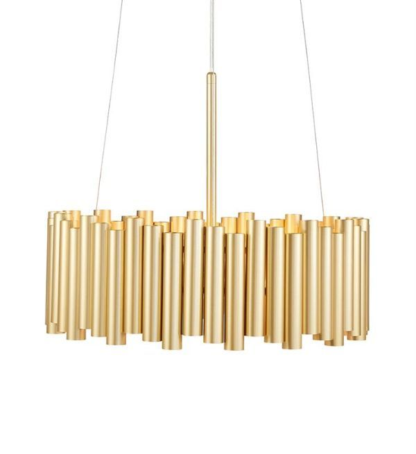 Nowoczesna lampa wisząca Level - złote rurki