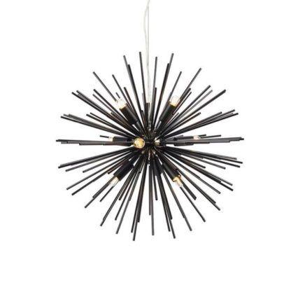czarna lampa wisząca sputnik do salonu