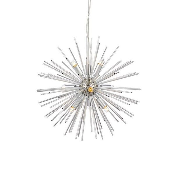 srebrna lampa wisząca sputnik do salonu