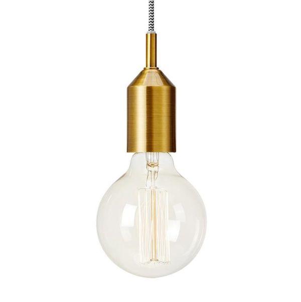 lampa wisząca złota oprawka na żarówkę