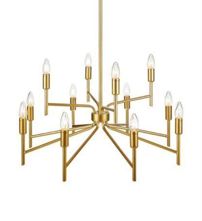 złoty żyrandol dużo światła do salonu
