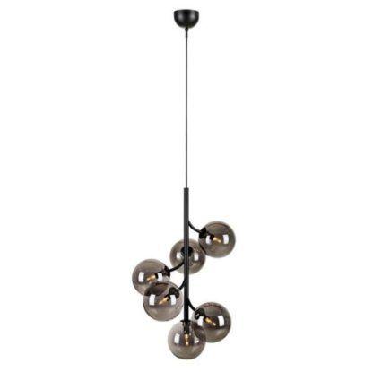 czarna lampa z dymionymi kloszami