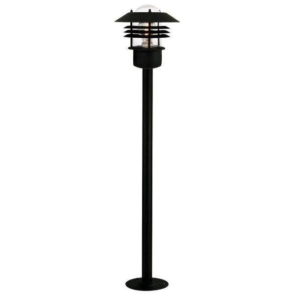 czarna lampa stojąca słupek ogrodowy