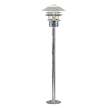 lampa ogrodowa stojąca słupek srebrna