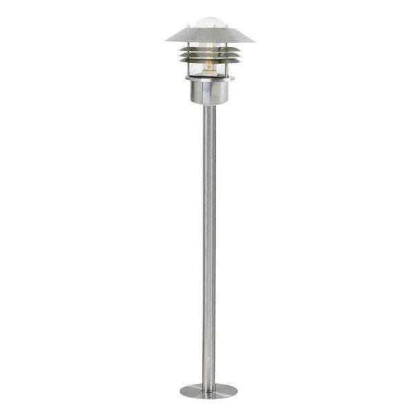srebrna lampa ogrodowa na podjazd