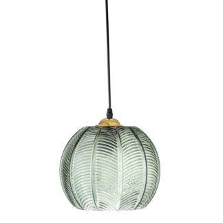 Zielona lampa wisząca Green Leaves - szklany klosz