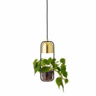 Lampa wisząca Gullak - złota, z doniczką