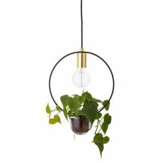 Okrągła lampa wisząca Caralina - ze szklaną doniczką