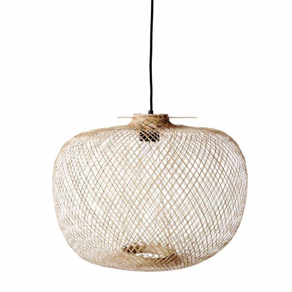 bambusowa lampa wisząca aranżacja boho