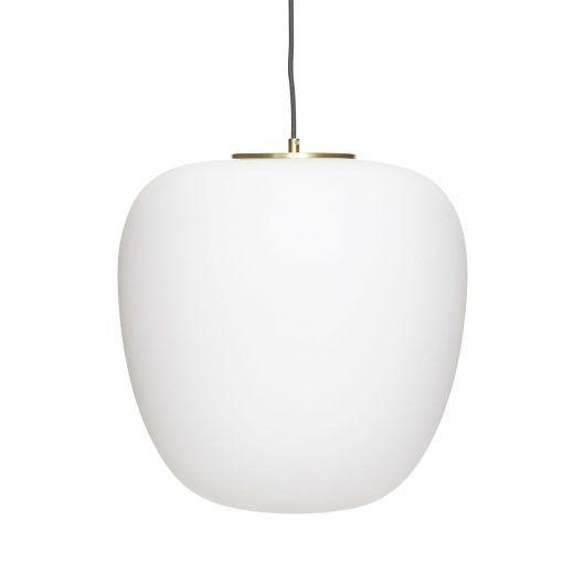 Nowoczesna lampa wisząca Apple - mleczny klosz