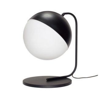 Lampa stołowa Globe - czarna, klosz z mlecznego szkła