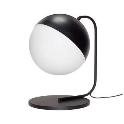 biało-czarna lampa stołowa szklany klosz
