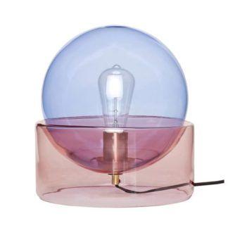Oryginalna lampa stołowa Helen - róż i błękit, szkło