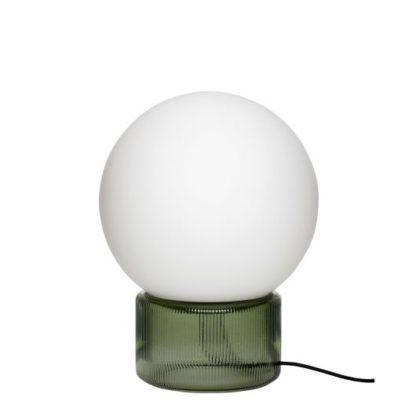 lampa stołowa na zielonej podstawie