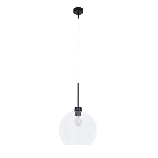 Lampa wisząca Lambert - szklany klosz, czarne zawieszenie