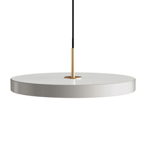 Lampa wisząca Asteria - płaski klosz, jasnoszara, LED